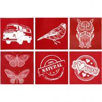 Screen Stencils, 6 designs, 20x22 cm, 6 ass sheets/ 1 pack