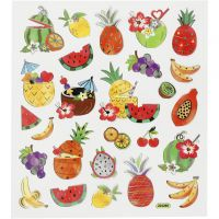 Stickers, exotic fruits, 15x16,5 cm, 1 sheet