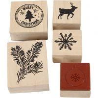 Rubber stamps set, christmas, 5 asstd./ 1 pack