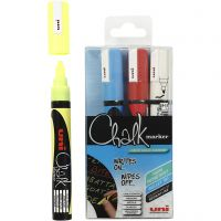 Chalk Pen, line 1,8-2,5 mm, blue, red, white, yellow, 4 pc/ 1 pack