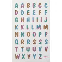 Glitter Stickers, Letters, 10x16 cm, 1 sheet