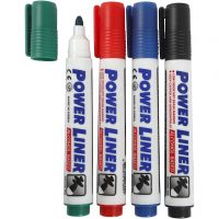 Whiteboard Markers, line 4 mm, black, blue, green, red, 4 pc/ 1 pack
