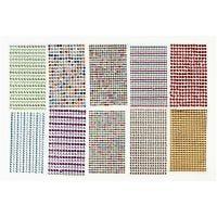 Rhinestones, D: 4-6 mm, 16x9,5 cm, assorted colours, 10 sheet/ 1 pack