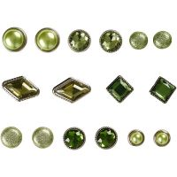 Deco Rivets, size 8-18 mm, green, 16 pc/ 1 pack