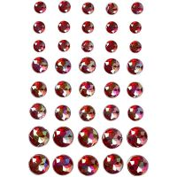 Rhinestones, size 6+8+10 mm, red, 40 pc/ 1 pack