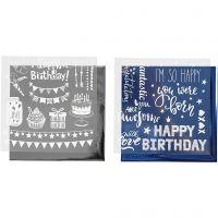 Deco Foil and transfer sheet, birthday, 15x15 cm, dark blue, silver, 2x2 sheet/ 1 pack