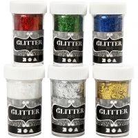 Glitter Fibres, metallic colours, 6x20 g/ 1 pack