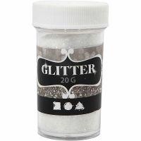 Glitter, white, 20 g/ 1 tub