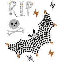 Rhinestone Stickers, RIP and bat, 14x17 cm, 1 sheet