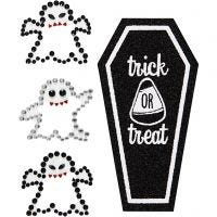 Rhinestone Stickers, ghosts and coffin, 14x17 cm, 1 sheet