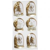 Shaker stickers, angel, tree and houses, size 49x32+45x36 mm, gold, 6 pc/ 1 pack