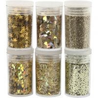 Glitter and Sequin, gold, 6x5 g/ 1 pack
