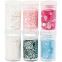 Glitter and Sequin, pastel colours, 6x5 g/ 1 pack