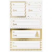 Stickers, 9x14 cm, size 42x39+84x29 mm, gold, white, 4 sheet/ 1 pack