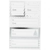Stickers, 9x14 cm, size 42x39+84x29 mm, silver, white, 4 sheet/ 1 pack