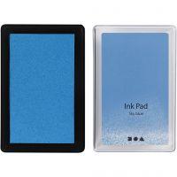 Ink Pad, H: 2 cm, size 9x6 cm, sky blue, 1 pc