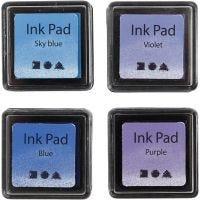 Ink Pad, H: 2 cm, size 3,5x3,5 cm, blue, sky blue, purple, violet, 4 pc/ 1 pack