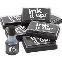 Ink Pad and refill, size 6,3x9,5 cm, black, 1 set