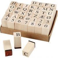 Wooden Stamps Set, H: 30 mm, size 13x13 mm, 42 asstd./ 1 pack