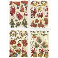 3D Decoupage Motifs, Father Christmas and Poinsettias, 21x30 cm, 4 sheet/ 1 pack