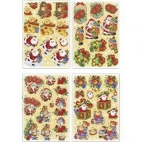 3D Decoupage Motifs, Father Christmas and teddy bears, 21x30 cm, 4 sheet/ 1 pack