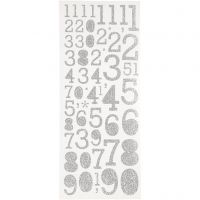 Glitter Stickers, numbers, 10x24 cm, silver, 2 sheet/ 1 pack