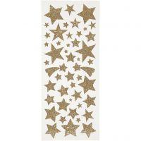 Glitter Stickers, stars, 10x24 cm, gold, 2 sheet/ 1 pack
