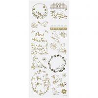 Stickers, birds, 10x24 cm, gold, 1 sheet