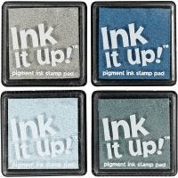 Ink pads, size 40x40 mm, blue/grey harmony, 4 pc/ 1 pack