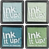 Ink pads, size 40x40 mm, green/turkis harmony, 4 pc/ 1 pack