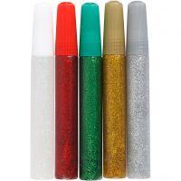 Glitter Glue, assorted colours, 5x10 ml/ 1 pack