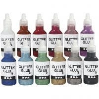 Glitter Glue, assorted colours, 12x25 ml/ 1 pack