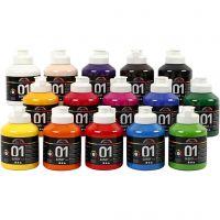 School acrylic paint glossy, glossy, assorted colours, 15x500 ml/ 1 box