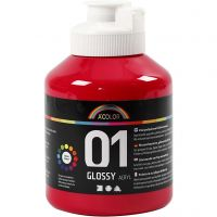 School acrylic paint glossy, glossy, primary red, 500 ml/ 1 bottle