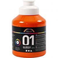 School acrylic paint glossy, glossy, orange, 500 ml/ 1 bottle