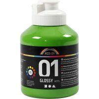 School acrylic paint glossy, glossy, light green, 500 ml/ 1 bottle