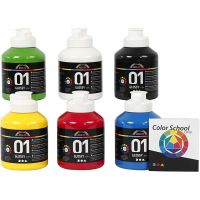 School acrylic paint glossy, glossy, primary colours, 6x500 ml/ 1 pack