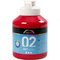 School acrylic paint matte, matt, primary red, 500 ml/ 1 bottle