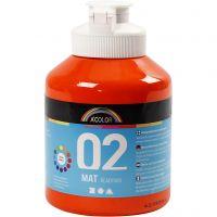 School acrylic paint matte, matt, orange, 500 ml/ 1 bottle