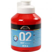 School acrylic paint matte, matt, red, 500 ml/ 1 bottle
