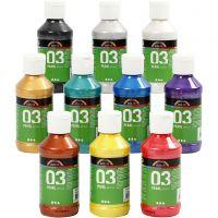 Skole akrylmaling metallic, metallic, assorted colours, 10x120 ml/ 1 pack