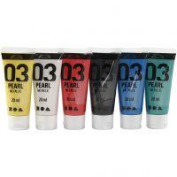 Skole akrylmaling metallic, metallic, standard colours, 6x20 ml/ 1 pack