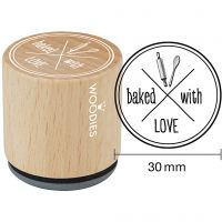 Wooden Stamp, baked with LOVE, H: 35 mm, D: 30 mm, 1 pc
