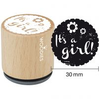 Wooden Stamp, It's a girl, H: 35 mm, D: 30 mm, 1 pc
