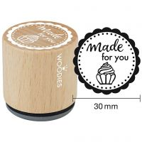 Wooden Stamp, made for you, H: 35 mm, D: 30 mm, 1 pc