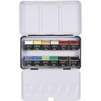 Art Aqua watercolour paints, ½-pan, size 10x20 mm, assorted colours, 12 colour/ 1 pack