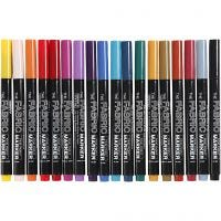 Textile Markers, line 2-3 mm, assorted colours, 18 pc/ 1 pack
