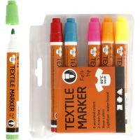 Textile Markers, line 2-4 mm, neon colours, 6 pc/ 1 pack