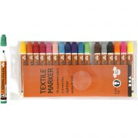 Textile Markers, line 2-4 mm, assorted colours, 18 pc/ 1 pack