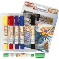 Playcolor Textile Marker, L: 14 cm, assorted colours, 6 pc/ 1 pack, 5 g